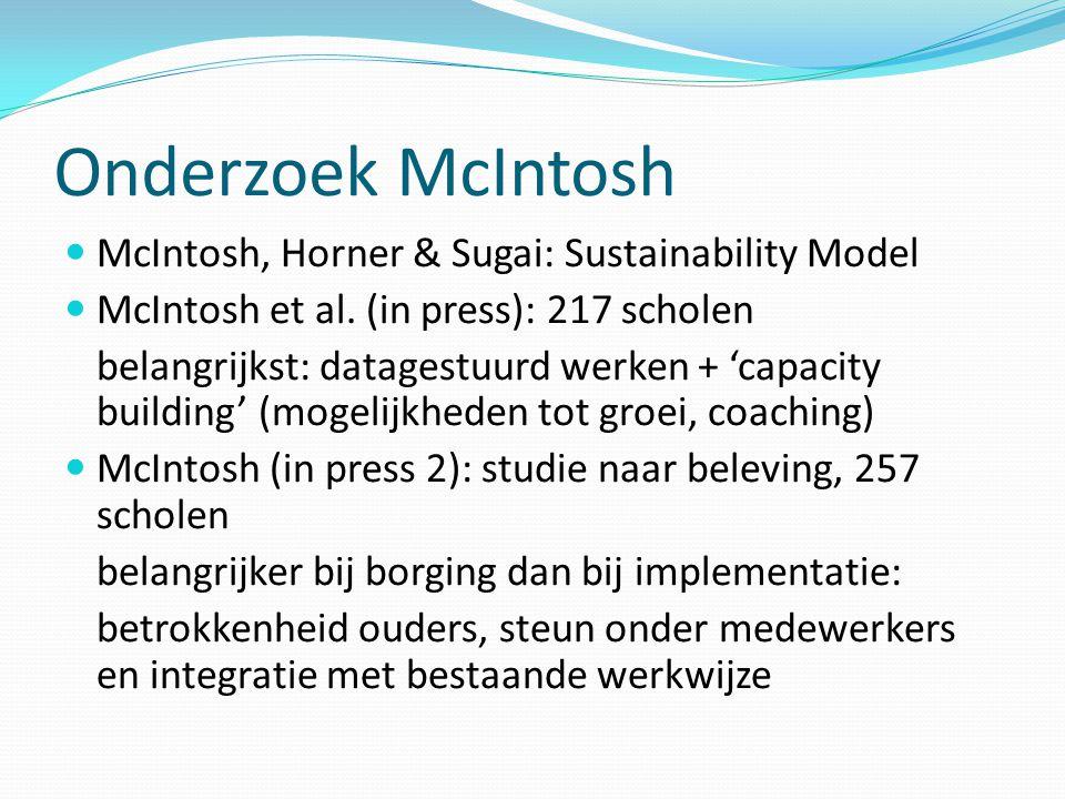 Onderzoek McIntosh  McIntosh, Horner & Sugai: Sustainability Model  McIntosh et al. (in press): 217 scholen belangrijkst: datagestuurd werken + 'cap