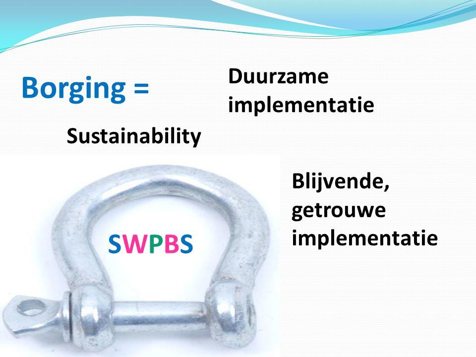 Borging = SWPBSSWPBS Sustainability Duurzame implementatie Blijvende, getrouwe implementatie