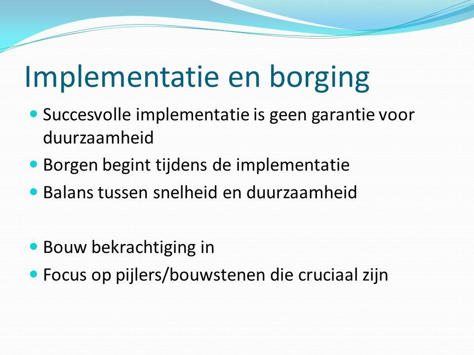Implementatie en borging  Succesvolle implementatie is geen garantie voor duurzaamheid  Borgen begint tijdens de implementatie  Balans tussen snelh