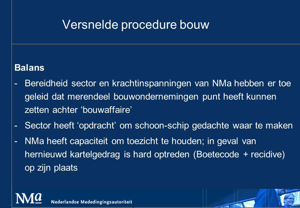 Versnelde procedure bouw Balans -Bereidheid sector en krachtinspanningen van NMa hebben er toe geleid dat merendeel bouwondernemingen punt heeft kunnen zetten achter 'bouwaffaire' -Sector heeft 'opdracht' om schoon-schip gedachte waar te maken -NMa heeft capaciteit om toezicht te houden; in geval van hernieuwd kartelgedrag is hard optreden (Boetecode + recidive) op zijn plaats