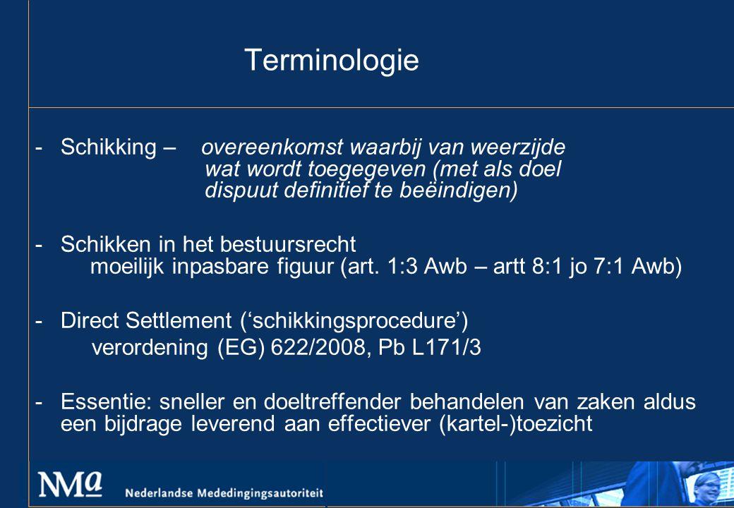 Terminologie -Schikking – overeenkomst waarbij van weerzijde wat wordt toegegeven (met als doel dispuut definitief te beëindigen) -Schikken in het bestuursrecht moeilijk inpasbare figuur (art.