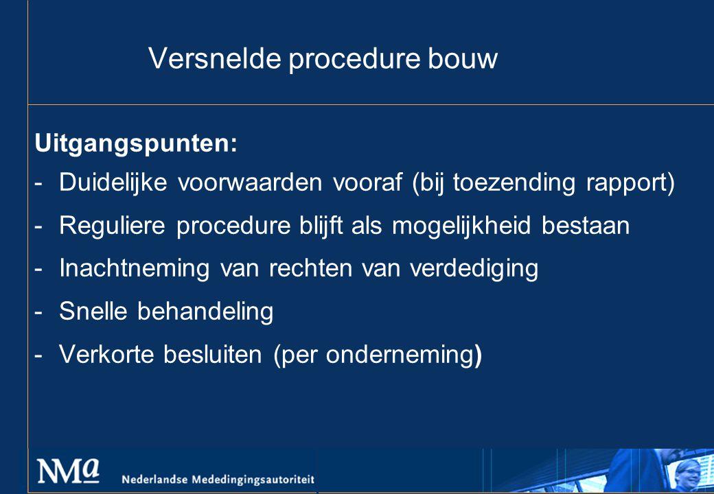 Versnelde procedure bouw Uitgangspunten: -Duidelijke voorwaarden vooraf (bij toezending rapport) -Reguliere procedure blijft als mogelijkheid bestaan -Inachtneming van rechten van verdediging -Snelle behandeling -Verkorte besluiten (per onderneming)
