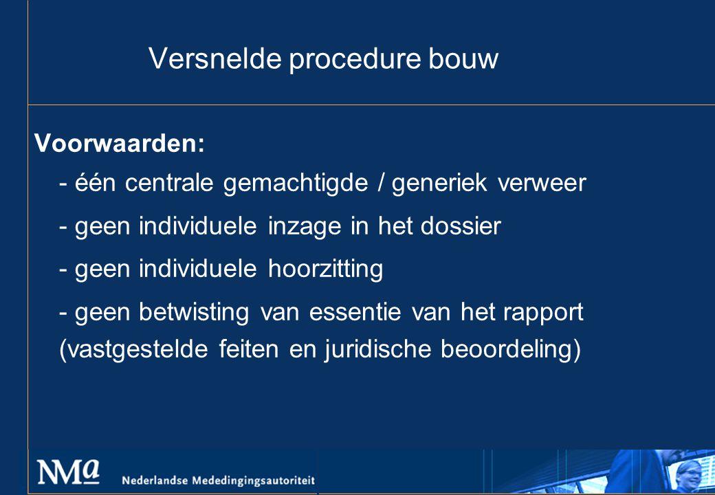 Versnelde procedure bouw Voorwaarden: - één centrale gemachtigde / generiek verweer - geen individuele inzage in het dossier - geen individuele hoorzitting - geen betwisting van essentie van het rapport (vastgestelde feiten en juridische beoordeling)
