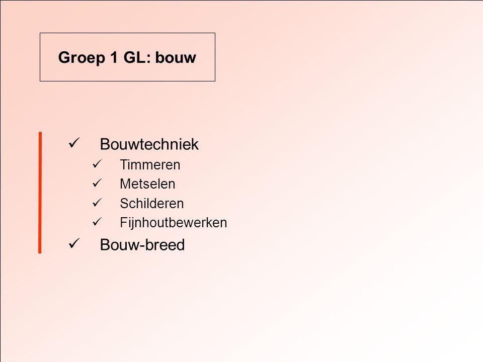 Groep 1 GL: bouw  Bouwtechniek  Timmeren  Metselen  Schilderen  Fijnhoutbewerken  Bouw-breed