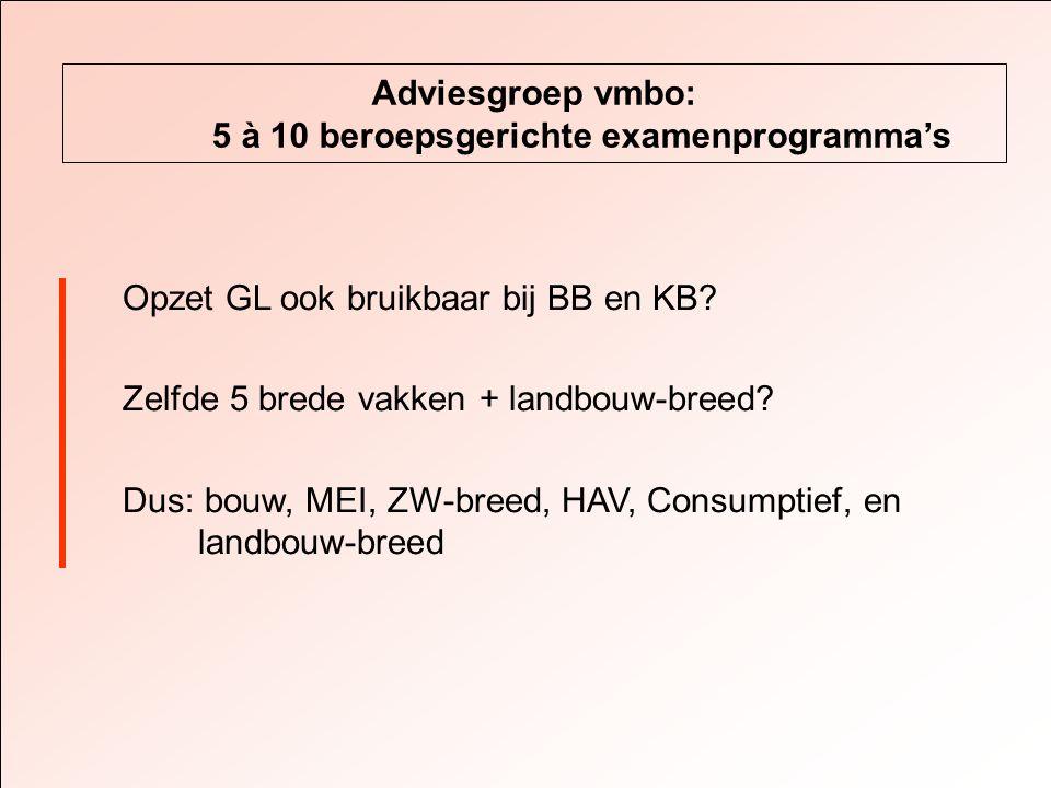 Adviesgroep vmbo: 5 à 10 beroepsgerichte examenprogramma's Opzet GL ook bruikbaar bij BB en KB.