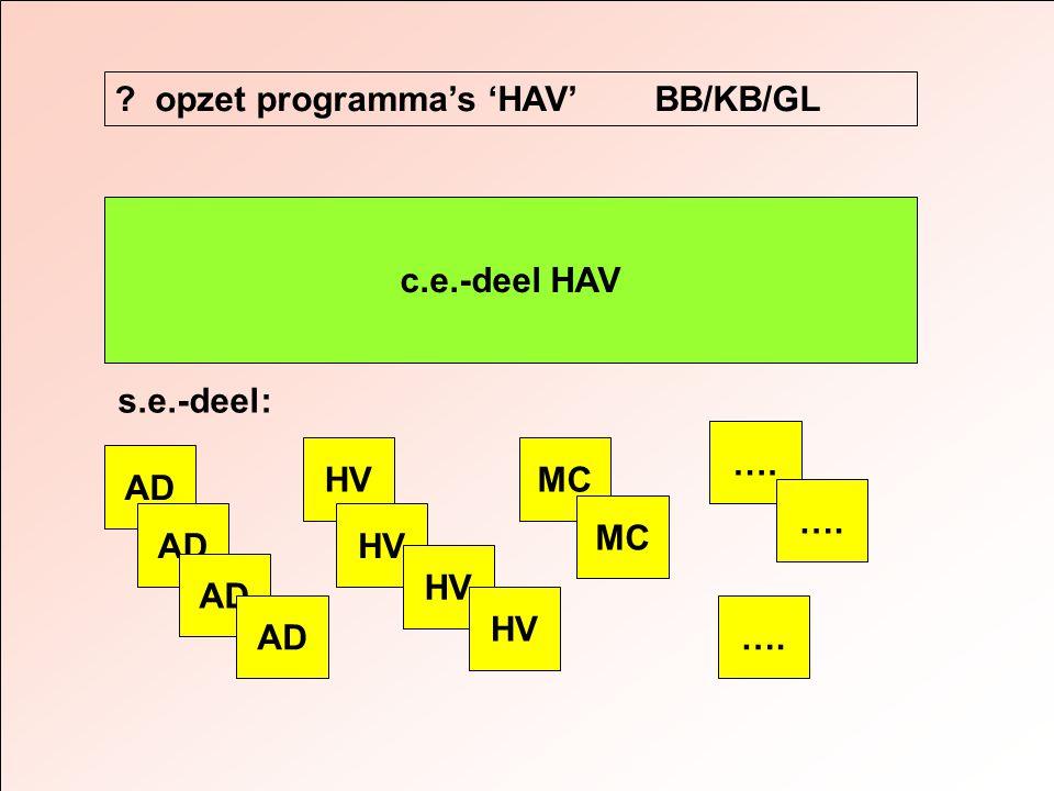 c.e.-deel HAV AD ? opzet programma's 'HAV' BB/KB/GL s.e.-deel: AD HV MC ….