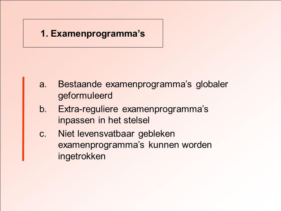 1. Examenprogramma's a.Bestaande examenprogramma's globaler geformuleerd b.Extra-reguliere examenprogramma's inpassen in het stelsel c.Niet levensvatb