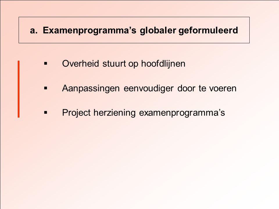 a. Examenprogramma's globaler geformuleerd  Overheid stuurt op hoofdlijnen  Aanpassingen eenvoudiger door te voeren  Project herziening examenprogr