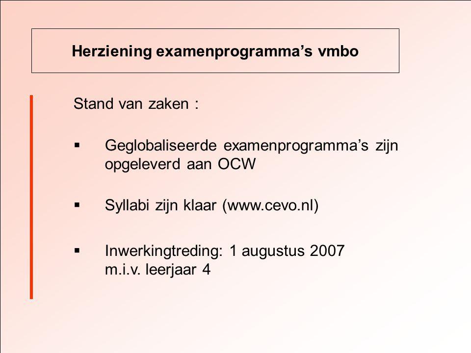 Herziening examenprogramma's vmbo Stand van zaken :  Geglobaliseerde examenprogramma's zijn opgeleverd aan OCW  Syllabi zijn klaar (www.cevo.nl)  Inwerkingtreding: 1 augustus 2007 m.i.v.