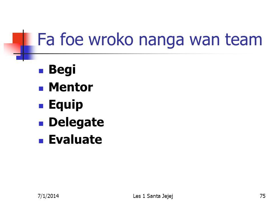 7/1/2014Les 1 Santa Jejej75 Fa foe wroko nanga wan team  Begi  Mentor  Equip  Delegate  Evaluate