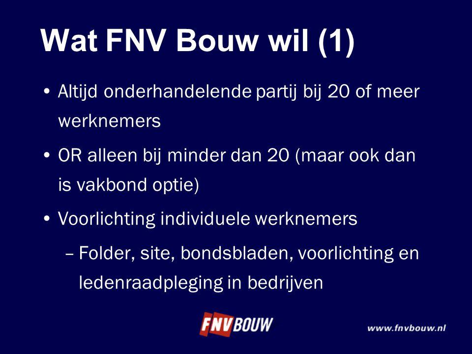 Wat FNV Bouw wil (1) •Altijd onderhandelende partij bij 20 of meer werknemers •OR alleen bij minder dan 20 (maar ook dan is vakbond optie) •Voorlichti