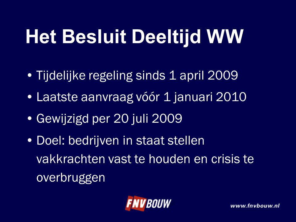 Het Besluit Deeltijd WW •Tijdelijke regeling sinds 1 april 2009 •Laatste aanvraag vóór 1 januari 2010 •Gewijzigd per 20 juli 2009 •Doel: bedrijven in