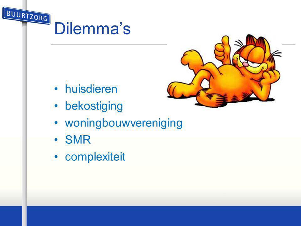 Dilemma's •huisdieren •bekostiging •woningbouwvereniging •SMR •complexiteit