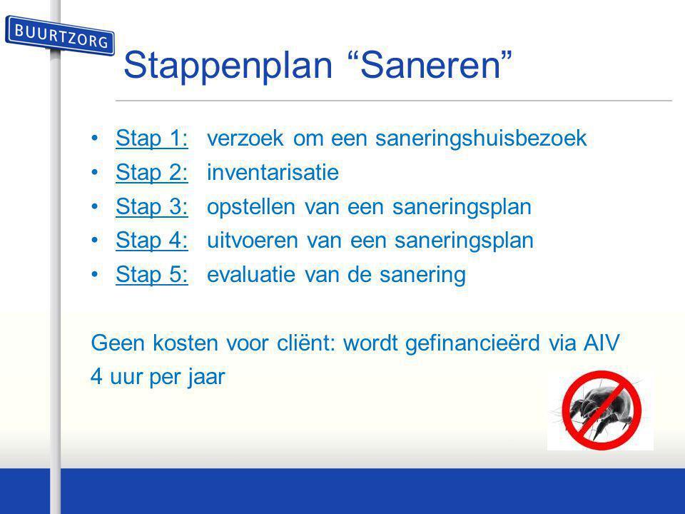 """Stappenplan """"Saneren"""" •Stap 1: verzoek om een saneringshuisbezoek •Stap 2: inventarisatie •Stap 3: opstellen van een saneringsplan •Stap 4: uitvoeren"""