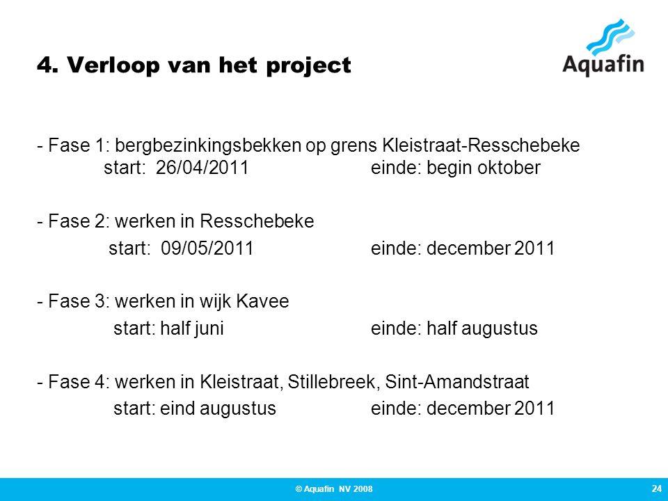 24 © Aquafin NV 2008 4. Verloop van het project - Fase 1: bergbezinkingsbekken op grens Kleistraat-Resschebeke start: 26/04/2011 einde: begin oktober