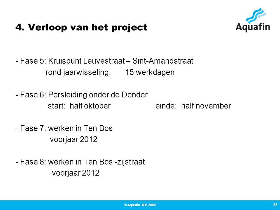 25 © Aquafin NV 2008 4. Verloop van het project - Fase 5: Kruispunt Leuvestraat – Sint-Amandstraat rond jaarwisseling, 15 werkdagen - Fase 6: Persleid