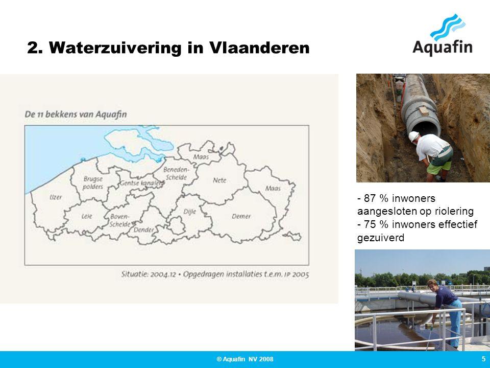 5 © Aquafin NV 2008 2. Waterzuivering in Vlaanderen - 87 % inwoners aangesloten op riolering - 75 % inwoners effectief gezuiverd