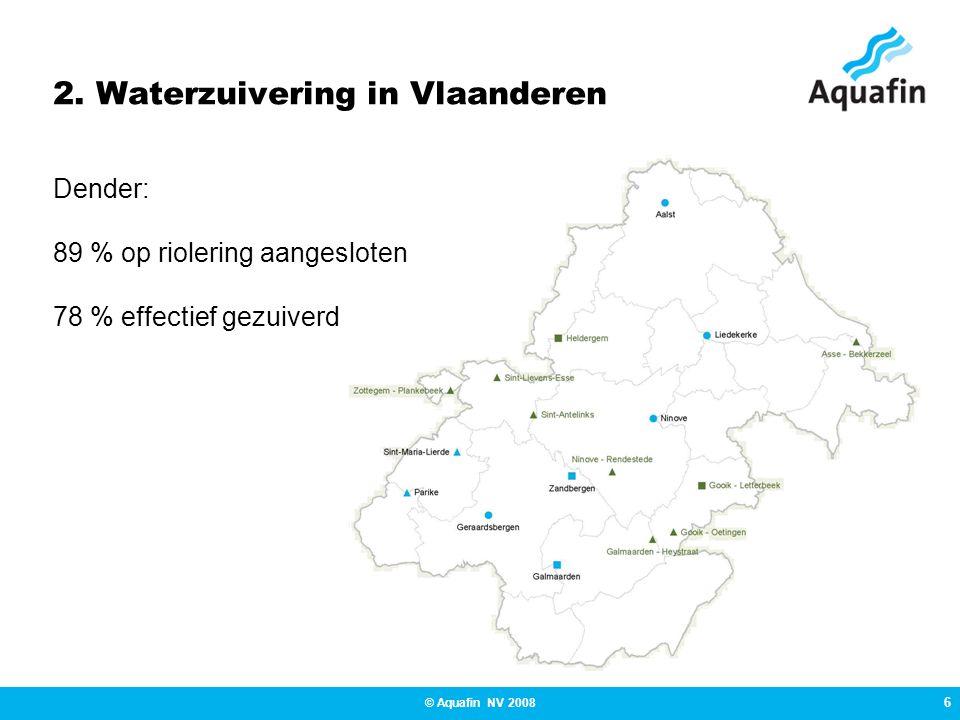 6 © Aquafin NV 2008 2. Waterzuivering in Vlaanderen Dender: 89 % op riolering aangesloten 78 % effectief gezuiverd
