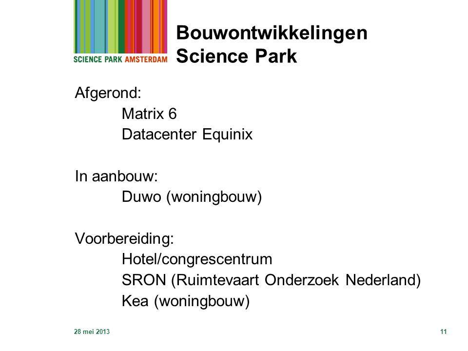 28 mei 201311 Bouwontwikkelingen Science Park Afgerond: Matrix 6 Datacenter Equinix In aanbouw: Duwo (woningbouw) Voorbereiding: Hotel/congrescentrum