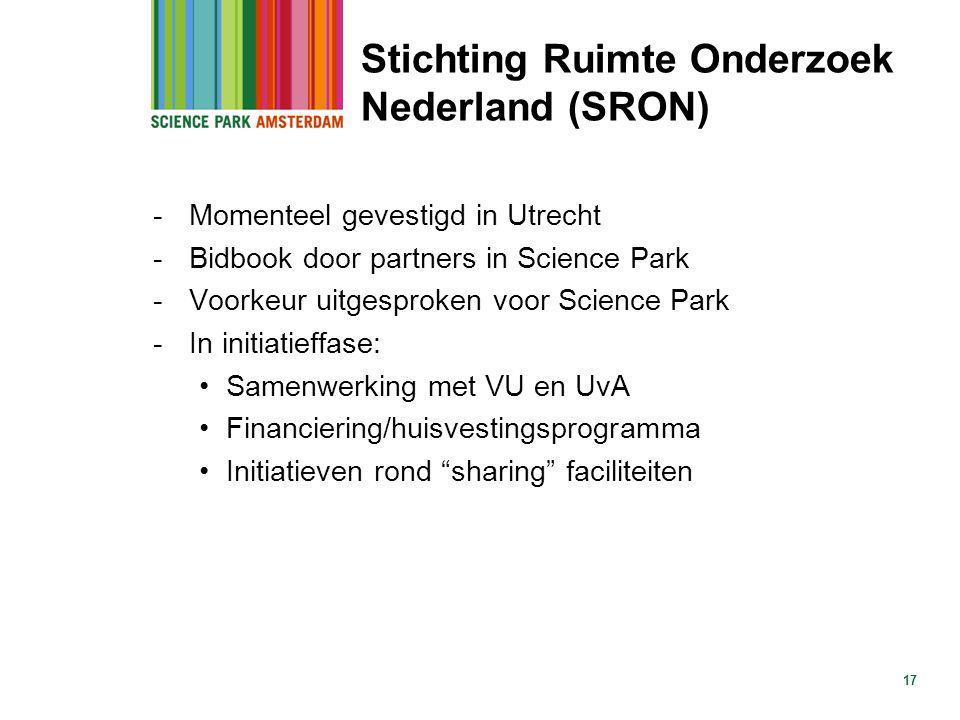 Stichting Ruimte Onderzoek Nederland (SRON) -Momenteel gevestigd in Utrecht -Bidbook door partners in Science Park -Voorkeur uitgesproken voor Science