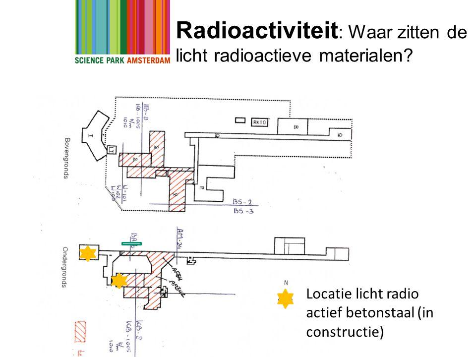Radioactiviteit : Waar zitten de licht radioactieve materialen? Locatie licht radio actief betonstaal (in constructie)