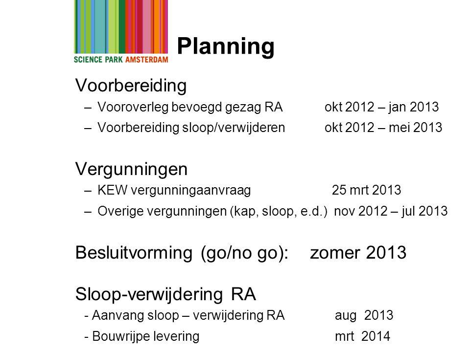Planning Voorbereiding –Vooroverleg bevoegd gezag RA okt 2012 – jan 2013 –Voorbereiding sloop/verwijderen okt 2012 – mei 2013 Vergunningen –KEW vergun