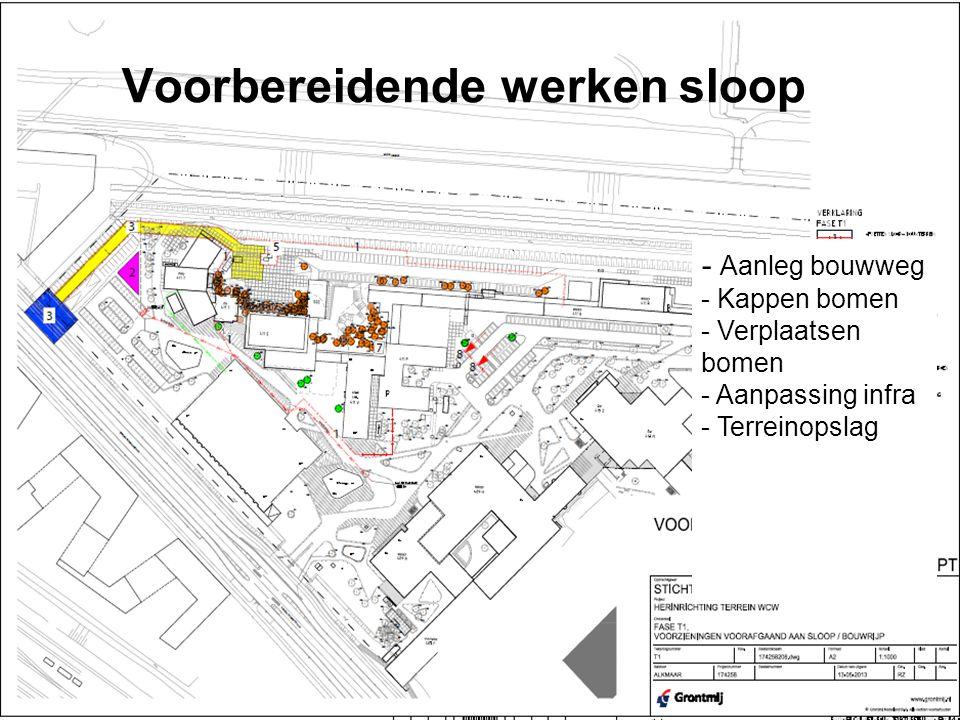 Voorbereidende werken sloop - Aanleg bouwweg - Kappen bomen - Verplaatsen bomen - Aanpassing infra - Terreinopslag