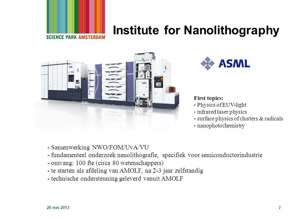 Institute for Nanolithography 28 mei 2013 7 - Samenwerking NWO/FOM/UvA/VU - fundamenteel onderzoek nanolithografie, specifiek voor semiconductorindust