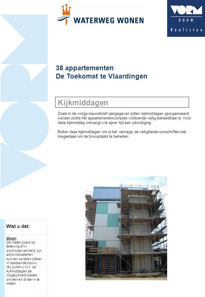 38 appartementen De Toekomst te Vlaardingen Zoals in de vorige nieuwsbrief aangegeven zullen kijkmiddagen georganiseerd worden zodra het appartementencomplex voldoende veilig betreedbaar is.