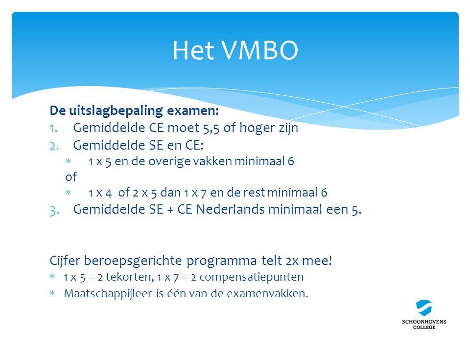 De uitslagbepaling examen: 1.Gemiddelde CE moet 5,5 of hoger zijn 2.Gemiddelde SE en CE:  1 x 5 en de overige vakken minimaal 6 of  1 x 4 of 2 x 5 dan 1 x 7 en de rest minimaal 6 3.Gemiddelde SE + CE Nederlands minimaal een 5.