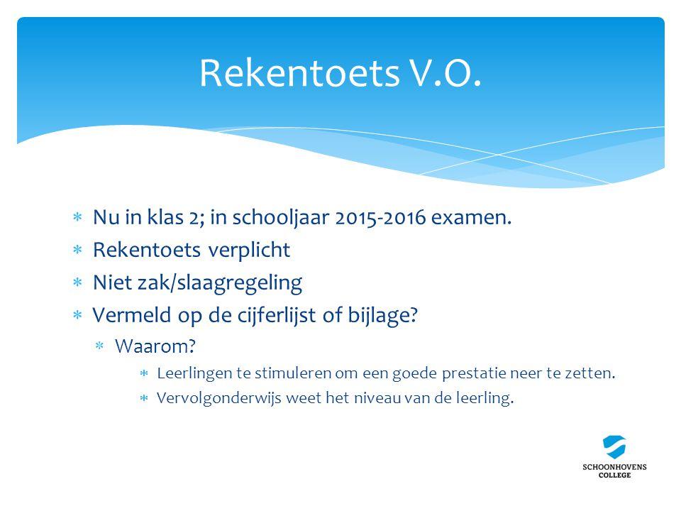 Rekentoets V.O.  Nu in klas 2; in schooljaar 2015-2016 examen.