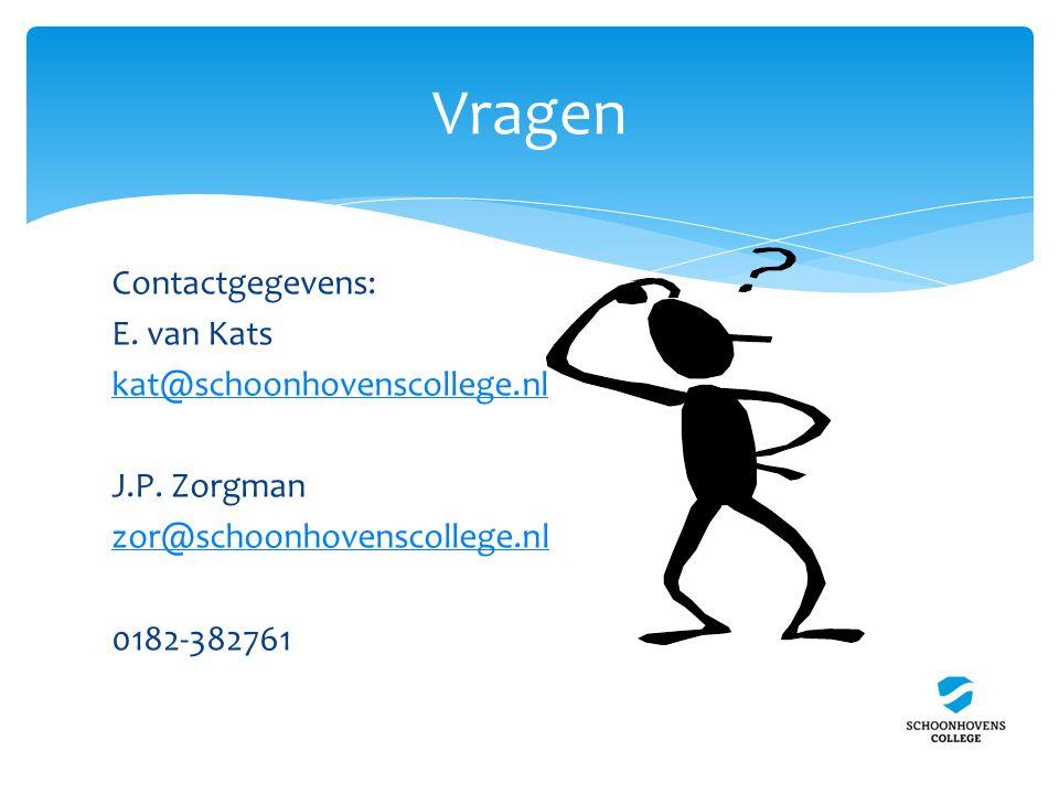 Contactgegevens: E. van Kats kat@schoonhovenscollege.nl J.P.