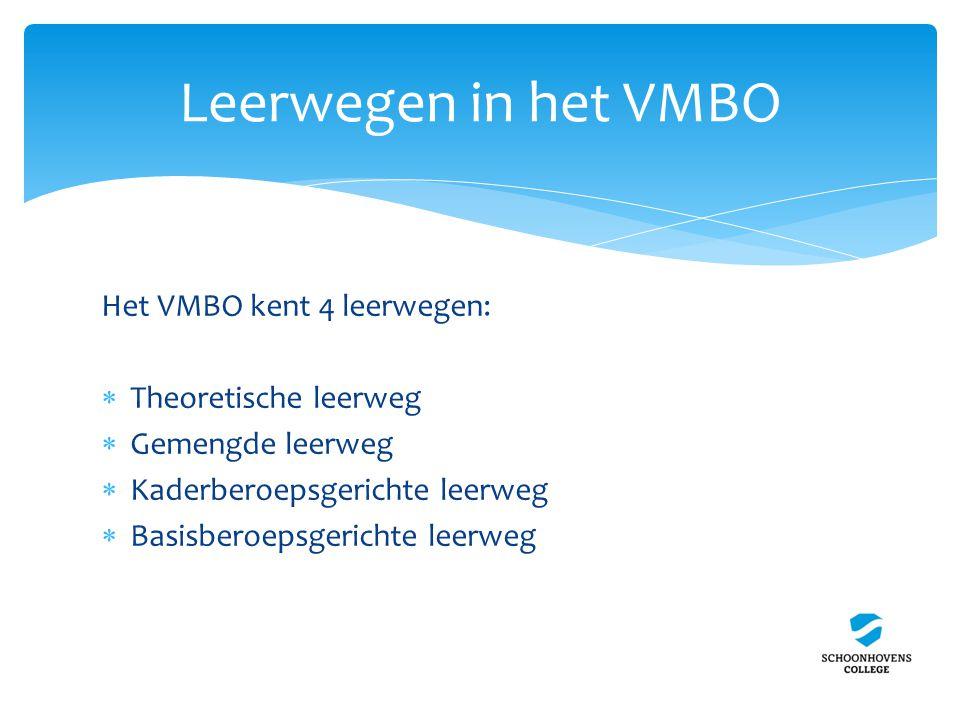 Leerwegen in het VMBO Het VMBO kent 4 leerwegen:  Theoretische leerweg  Gemengde leerweg  Kaderberoepsgerichte leerweg  Basisberoepsgerichte leerweg