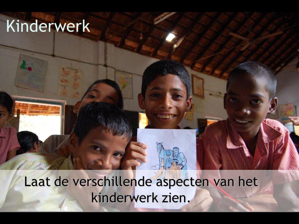 Kinderwerk Laat de verschillende aspecten van het kinderwerk zien.