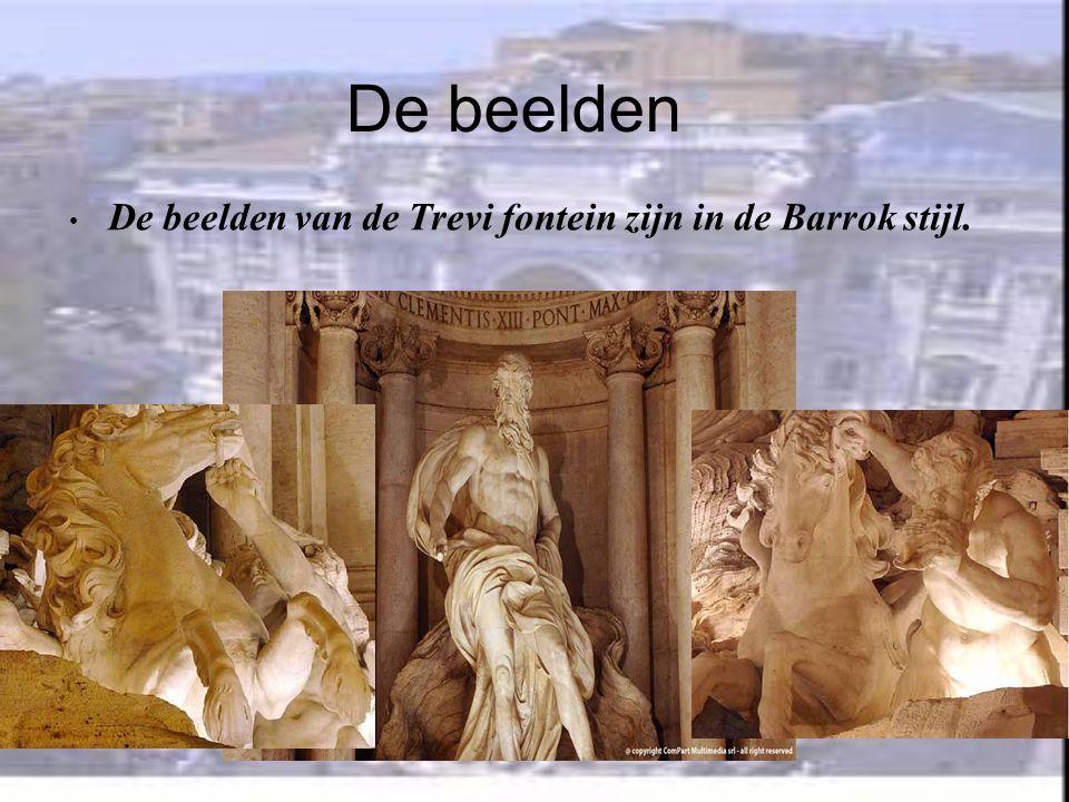 De bouw • De Trevi fontein is 20 m breed en 26 m hoog. • De beelden zijn door verschillende beeldhouwers gemaakt. • De Trevi fontein heeft de vorm van