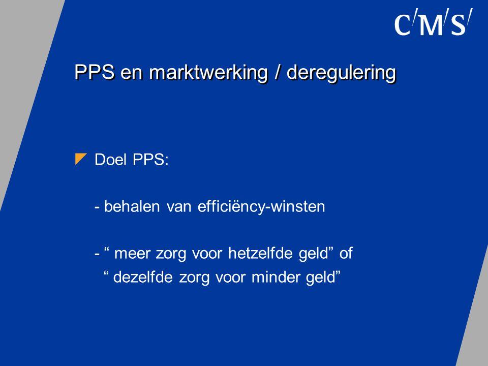 """PPS en marktwerking / deregulering  Doel PPS: - behalen van efficiëncy-winsten - """" meer zorg voor hetzelfde geld"""" of """" dezelfde zorg voor minder geld"""