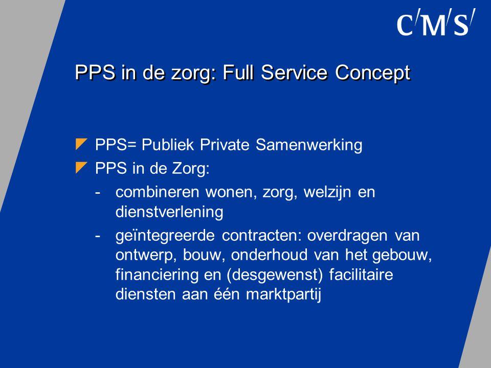 PPS in de Zorg: Full Service Concept  Geïntegreerde contracten = privaat-private samenwerking : Full Service Concept  DBFM (Design Build Finance Maintain)