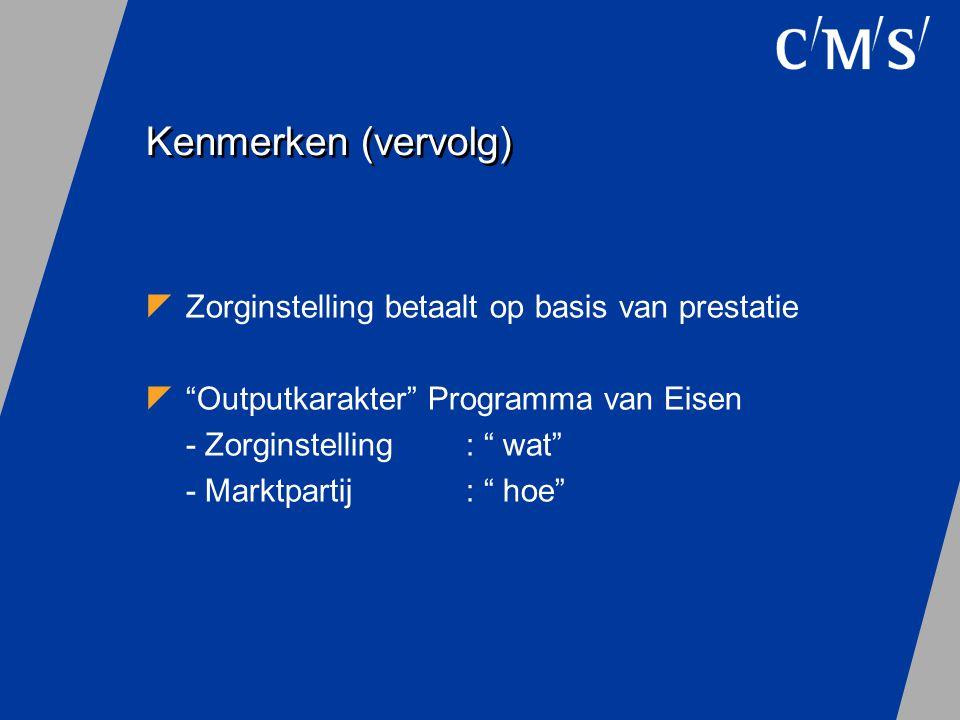 """Kenmerken (vervolg)  Zorginstelling betaalt op basis van prestatie  """"Outputkarakter"""" Programma van Eisen - Zorginstelling: """" wat"""" - Marktpartij : """""""