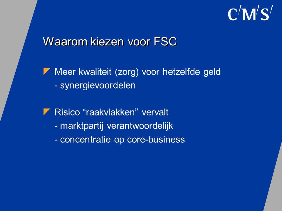 """Waarom kiezen voor FSC  Meer kwaliteit (zorg) voor hetzelfde geld - synergievoordelen  Risico """"raakvlakken"""" vervalt - marktpartij verantwoordelijk -"""