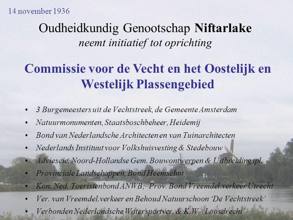 Oudheidkundig Genootschap Niftarlake neemt initiatief tot oprichting •3 Burgemeesters uit de Vechtstreek, de Gemeente Amsterdam •Natuurmonumenten, Sta
