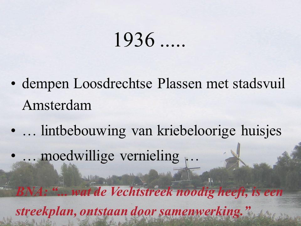 """1936..... •dempen Loosdrechtse Plassen met stadsvuil Amsterdam •… lintbebouwing van kriebeloorige huisjes •… moedwillige vernieling … BNA: """"... wat de"""