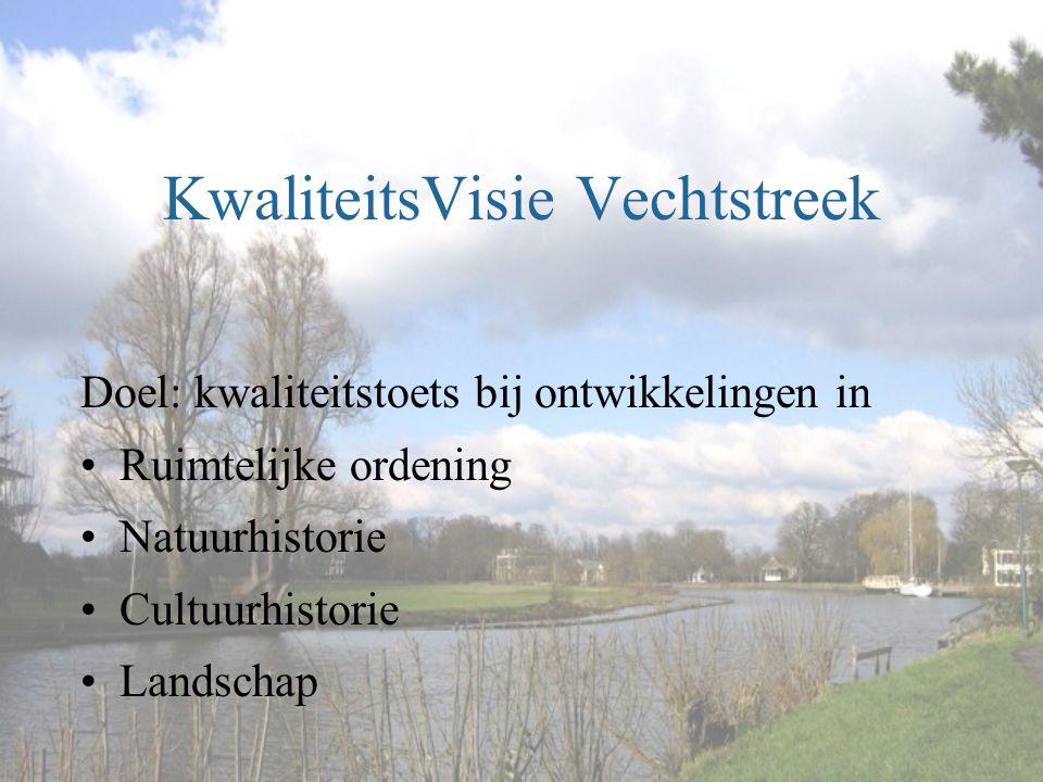 KwaliteitsVisie Vechtstreek Doel: kwaliteitstoets bij ontwikkelingen in •Ruimtelijke ordening •Natuurhistorie •Cultuurhistorie •Landschap