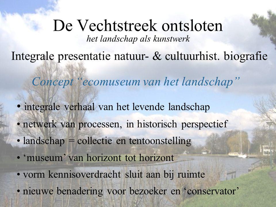 """De Vechtstreek ontsloten het landschap als kunstwerk Concept """"ecomuseum van het landschap"""" Integrale presentatie natuur- & cultuurhist. biografie • in"""