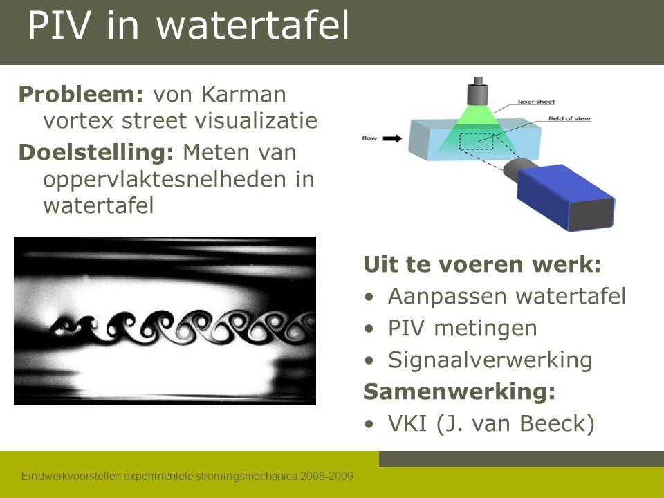 Eindwerkvoorstellen experimentele stromingsmechanica 2008-2009 PIV in watertafel Probleem: von Karman vortex street visualizatie Doelstelling: Meten v