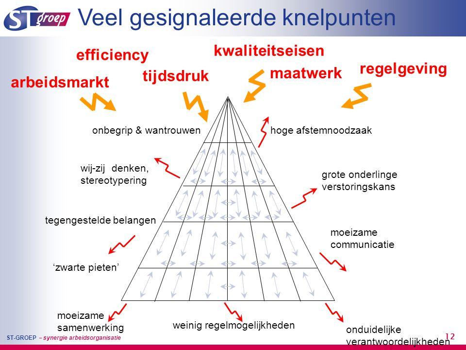 ST-GROEP – synergie arbeidsorganisatie 12 hoge afstemnoodzaak grote onderlinge verstoringskans onduidelijke verantwoordelijkheden moeizame communicati