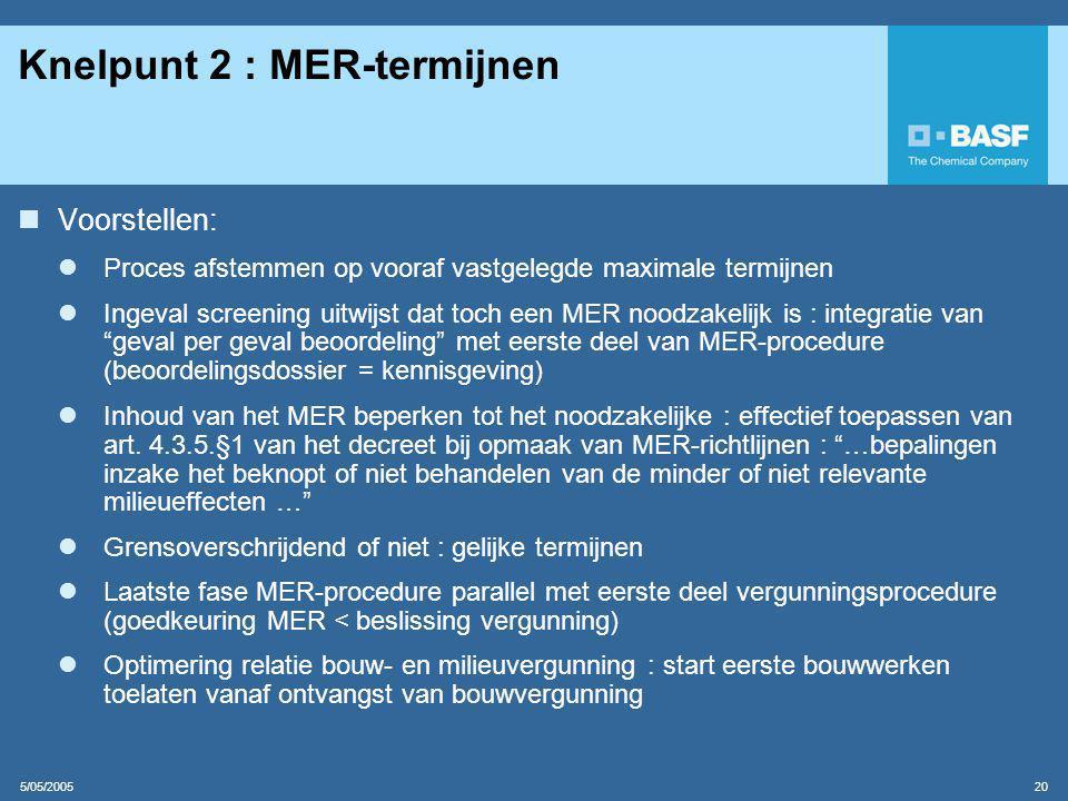 5/05/2005 20 Knelpunt 2 : MER-termijnen  Voorstellen:  Proces afstemmen op vooraf vastgelegde maximale termijnen  Ingeval screening uitwijst dat toch een MER noodzakelijk is : integratie van geval per geval beoordeling met eerste deel van MER-procedure (beoordelingsdossier = kennisgeving)  Inhoud van het MER beperken tot het noodzakelijke : effectief toepassen van art.