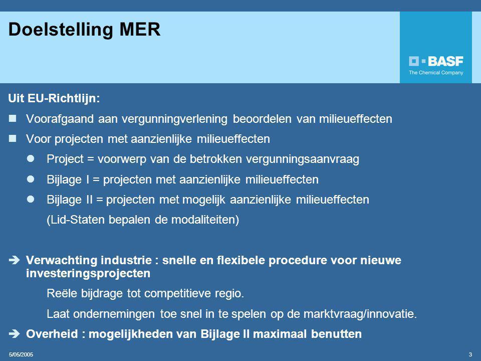 5/05/2005 3 Doelstelling MER Uit EU-Richtlijn:  Voorafgaand aan vergunningverlening beoordelen van milieueffecten  Voor projecten met aanzienlijke milieueffecten  Project = voorwerp van de betrokken vergunningsaanvraag  Bijlage I = projecten met aanzienlijke milieueffecten  Bijlage II = projecten met mogelijk aanzienlijke milieueffecten (Lid-Staten bepalen de modaliteiten)  Verwachting industrie : snelle en flexibele procedure voor nieuwe investeringsprojecten Reële bijdrage tot competitieve regio.
