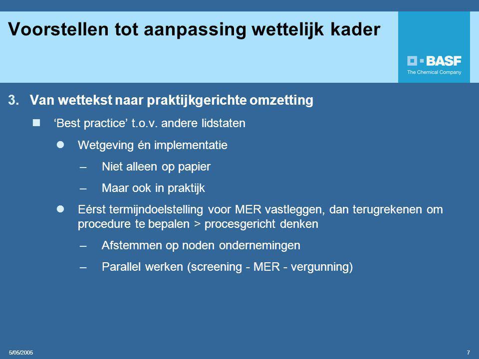 5/05/2005 7 Voorstellen tot aanpassing wettelijk kader 3.Van wettekst naar praktijkgerichte omzetting  'Best practice' t.o.v.