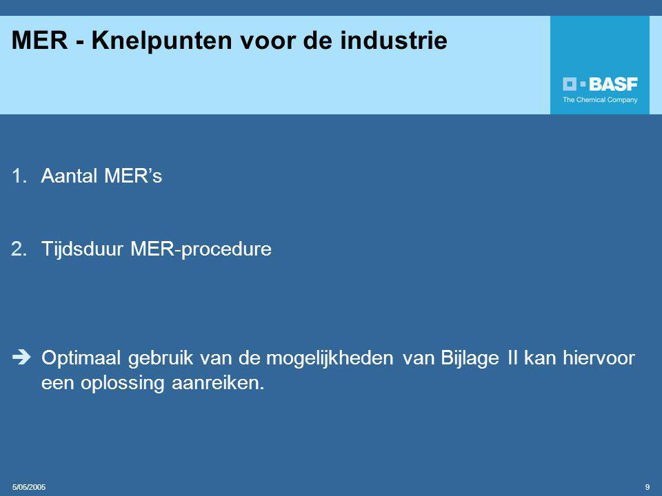 5/05/2005 9 MER - Knelpunten voor de industrie 1.Aantal MER's 2.Tijdsduur MER-procedure  Optimaal gebruik van de mogelijkheden van Bijlage II kan hiervoor een oplossing aanreiken.
