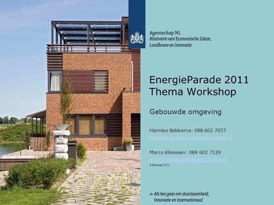 8 februari 2011 EnergieParade 2011 Thema Workshop Gebouwde omgeving Harmke Bekkema: 088 602 7057 Harmke.bekkema@agentschapnl.nl Marco Klaassen: 088 602 7129 marco.klaassen@agentschapnl.nl